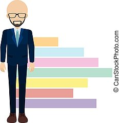 A faceless man beside the chart