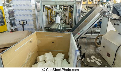 A factory for plastic canister production timelapse...