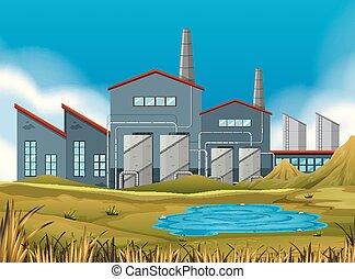 A factory in nature scene