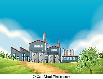 A factory scene in nature