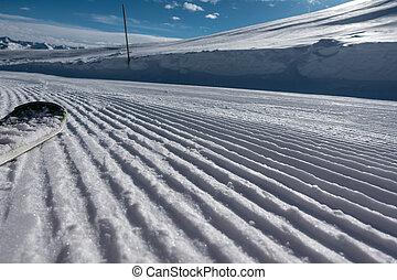 a, fahren schi bereich, mit, phantastisch, wetter