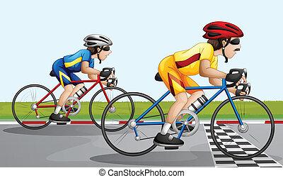 a, faire vélo, course