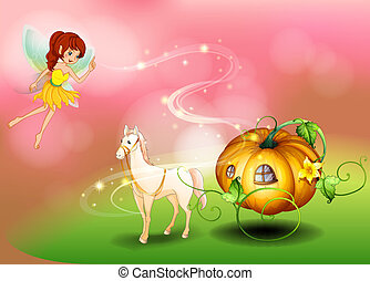 A fairy and a pumpkin cart