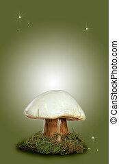 Fairy Fantasy Mushroom - A Fairy Fantasy Mushroom on Green...