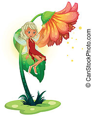 A fairy floating near the giant flower
