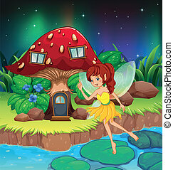 A fairy flying near the red mushroom house - Illustration of...
