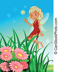 A fairy holding a wand near the garden with flowers