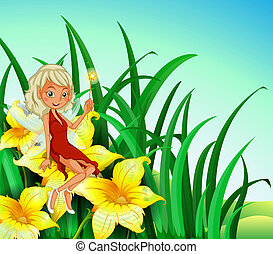 A fairy holding a wand sitting above a flower