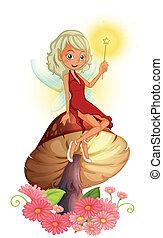 A fairy holding a wand sitting above a giant mushroom -...