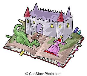 A fairy-tale book - Artistic illustration. Fairy tale pop-up...
