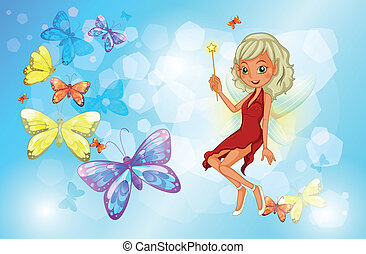 A fairy with a red dress beside the group of butterflies