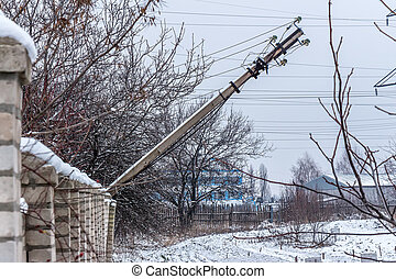 a fallen electric pole on donbass