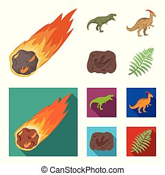A falling meteorite,parasaurolophus, tyrannosaurus, an imprint of a dinosaur foot. The dinosaur and prehistoric period set collection icons in cartoon,flat style vector symbol stock illustration web.