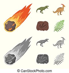 A falling meteorite,parasaurolophus, tyrannosaurus, an imprint of a dinosaur foot. The dinosaur and prehistoric period set collection icons in cartoon,monochrome style vector symbol stock illustration web.
