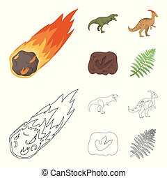 A falling meteorite,parasaurolophus, tyrannosaurus, an imprint of a dinosaur foot. The dinosaur and prehistoric period set collection icons in cartoon,outline style vector symbol stock illustration web.