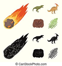 A falling meteorite,parasaurolophus, tyrannosaurus, an imprint of a dinosaur foot. The dinosaur and prehistoric period set collection icons in cartoon,black style vector symbol stock illustration web.