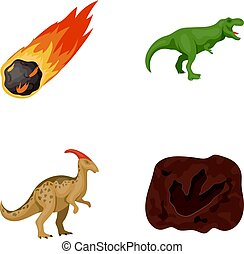 A falling meteorite,parasaurolophus, tyrannosaurus, an imprint of a dinosaur s foot. The dinosaur and prehistoric period set collection icons in cartoon style vector symbol stock illustration web.