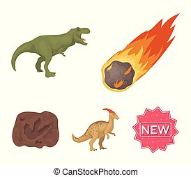 A falling meteorite,parasaurolophus, tyrannosaurus, an imprint of a dinosaur's foot. The dinosaur and prehistoric period set collection icons in cartoon style vector symbol stock illustration web.