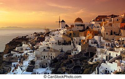 a, falu, közül, oia, santorini, görögország