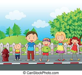 a, familie, entlang, der, straße