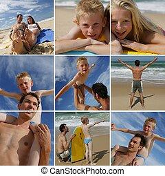 a, familie, strand