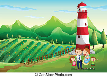 a, familj, hos, den, lantgård, med, a, hög, torn