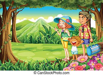 a, famille, à, les, forêt
