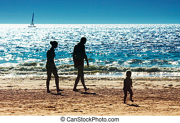 a, famille, plage