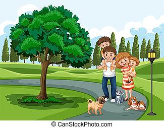 a, famille, visiter, parc, vacances