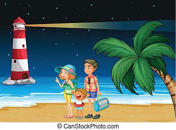 A family at the beach near the parola