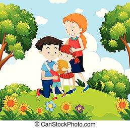 A family at the garden