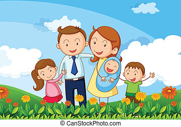 Illustration of a family at the hills