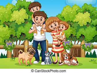 A family at the park