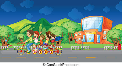 A family bike in front of the school