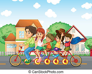 A family biking together - Illustration of a family biking...