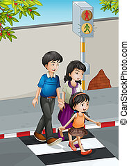 A family crossing the street - Illustration of a family...