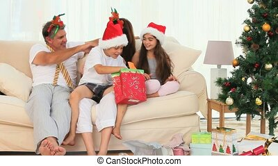 A family during Christmas