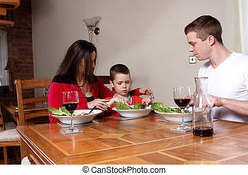A family having a meal