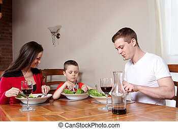 A family having a meal together