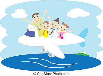 A family in an airplane