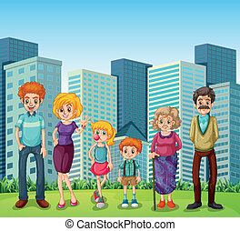 A family in front of the tall buildings in the city