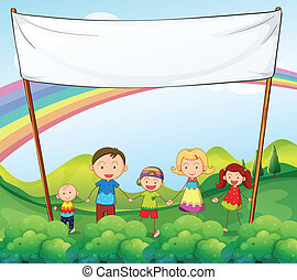 A family in the garden with an empty banner
