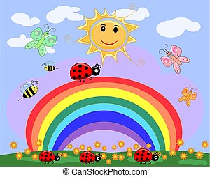 A family of five ladybirds creeps along a seven-color rainbow under the sun on a spring, summer day