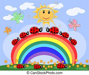 A family of ladybirds creeps along a seven-color rainbow under the sun on a spring, summer day
