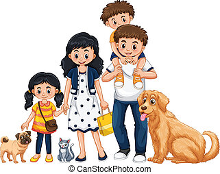 A family on white background