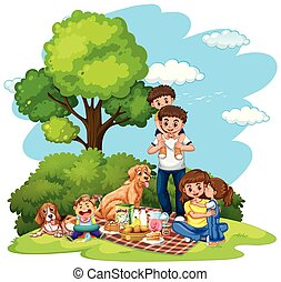 A family picnic at the park