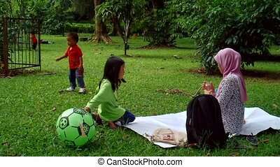 A Family Picnic in A Park
