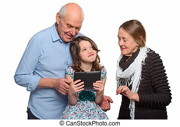 A family portrait in horizontal orientation with white background