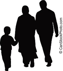 a family silhouette vector