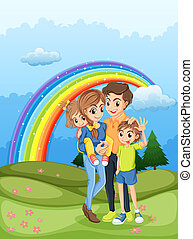A family strolling with a rainbow in the sky